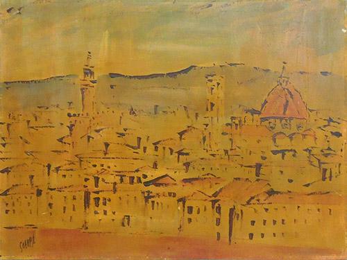 Quadro di  Scarpa Vista di Firenze - olio compensato