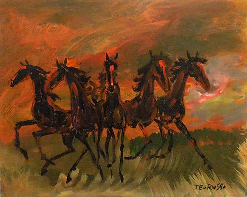 Quadro di Teo Russo Cavalli al galoppo - olio tavola