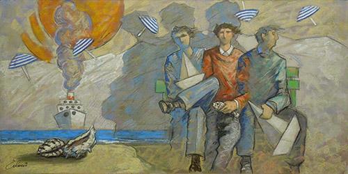 Giampaolo Talani - Tre amici davanti al mare