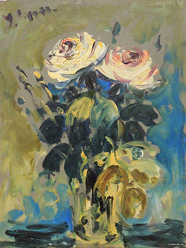 Quadro di Emanuele Cappello Vaso con rose - olio compensato