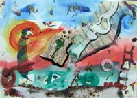 Work of Massimo Podestà - Rosso tramonto di felicità varnish paper