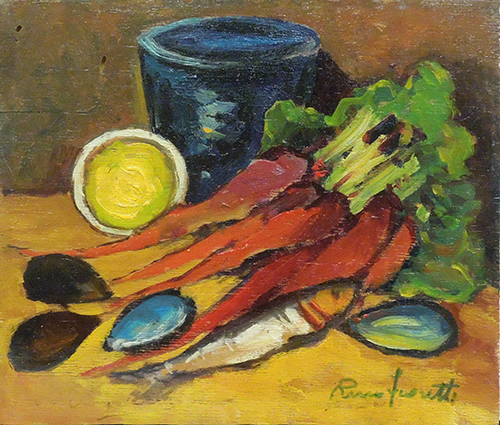 Art work by Rino Fioretti Natura morta  - oil table