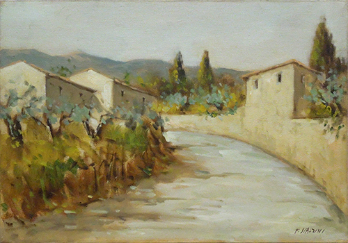 Quadro di F. Scalzini Paesaggio  - olio tela