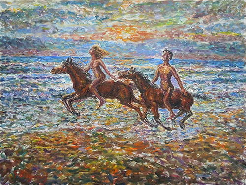Art work by Guido Borgianni Figure a cavallo - oil canvas