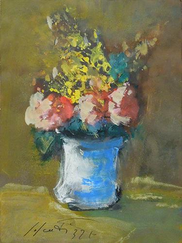 Quadro di Sergio Scatizzi Vaso con fiori  - olio carta