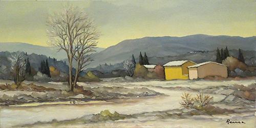 Quadro di Renato Cappelli (Renca) Paesaggio innevato toscano - olio tela