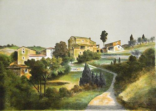 Quadro di Nino Tirinnanzi Paesaggio - litografia carta