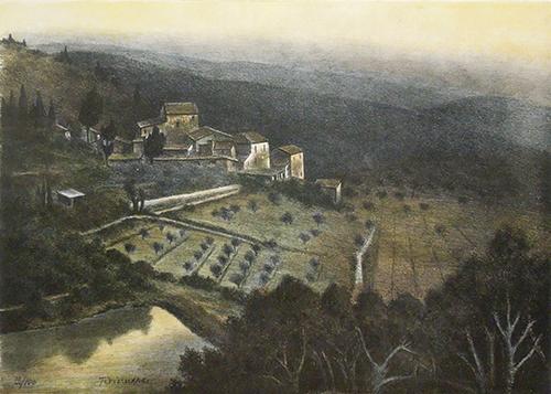 Quadro di Nino Tirinnanzi Paesaggio all'alba - litografia carta