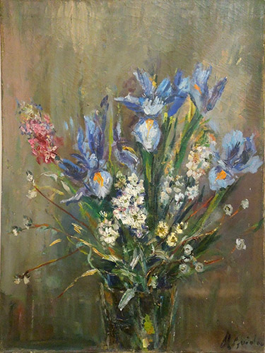 Art work by firma Illeggibile Vaso di fiori  - oil canvas
