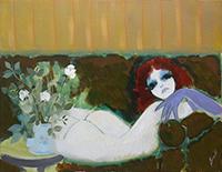 Work of Renato Borsato - La ragazza dai guanti viola oil canvas