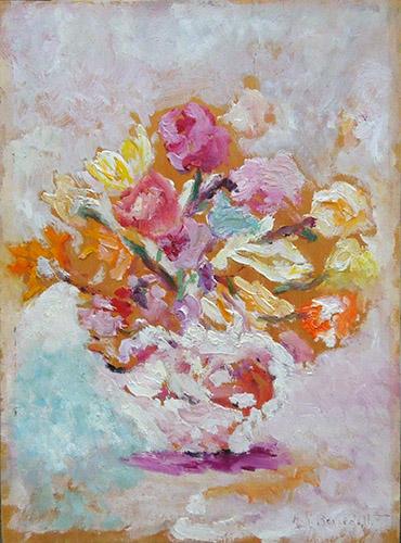 Quadro di Anna Rita  Benedetti Vaso con fiori - olio compensato