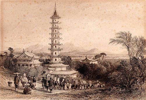 Quadro di  Anonimo Vita intorno alla Pagoda - stampa carta