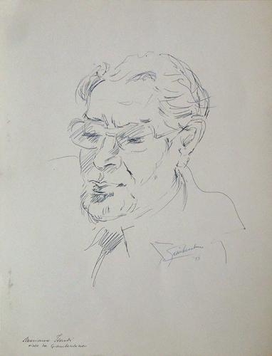 Quadro di Giovanni Becchina (Gianbecchina) Ritratto di Mariano Ilardi - penna biro carta