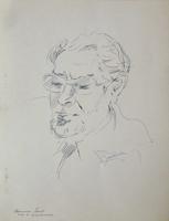 Quadro di Giovanni Becchina (Gianbecchina) - Ritratto di Mariano Ilardi penna biro carta
