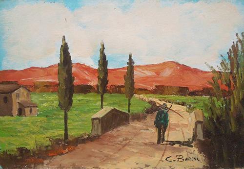 Quadro di C. Baroni Paesaggio - olio faesite