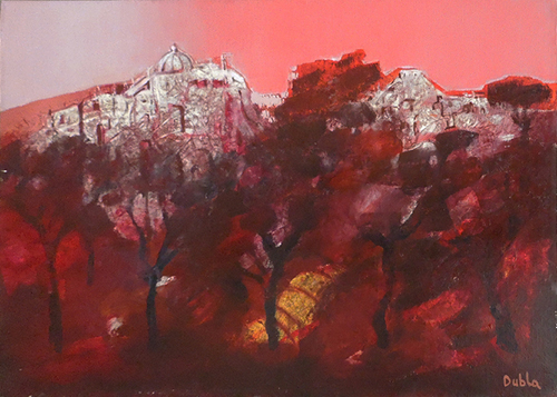 Art work by Franco Dubla Scorcio di città - oil canvas