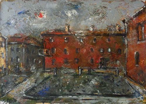 Quadro di Emanuele Cappello Palazzo Rosso a Ferrara - olio tela