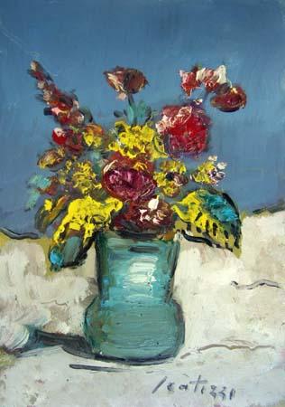 Quadro di Sergio Scatizzi Vaso con fiori - olio cartone