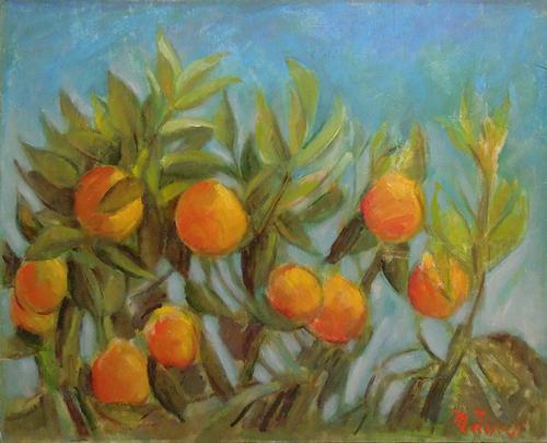 Quadro di Mariano Ilardi Arance di Sicilia - olio tavola