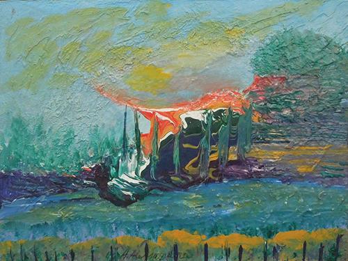 Quadro di A. Alessandra Paesaggio - mista faesite