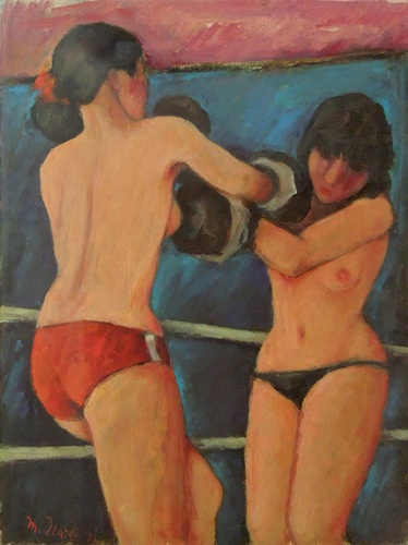 Quadro di Mariano Ilardi Boxe femminile - Pittori contemporanei galleria Firenze Art