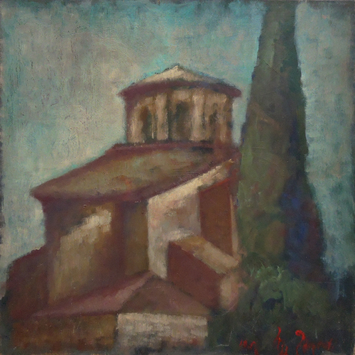 Quadro di Mariano Ilardi Una chiesa - Ravenna - olio tavola