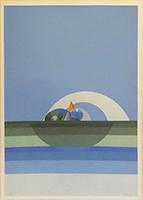 Quadro di Keizo Morishita - Paesaggio litografia carta