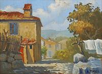 Quadro di A. Tassi - Paesaggio olio tavola