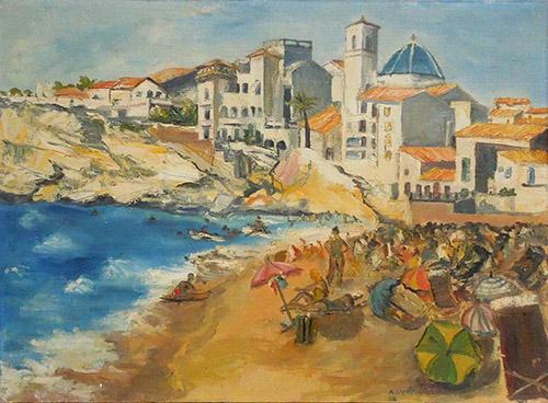 Quadro di  Ximenez Paesaggio con bagnanti - olio tela