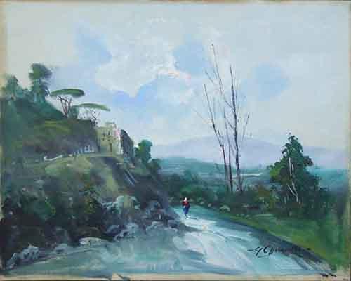 Quadro di Guglielmo Chiaravalle Paesaggio - olio tela
