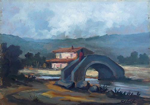 Quadro di Domenico Seloski Passaggio sul fiume - olio faesite