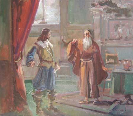 Quadro di Ovidio Gragnoli Fra Cristoforo e l'Innominato - Pittori contemporanei galleria Firenze Art
