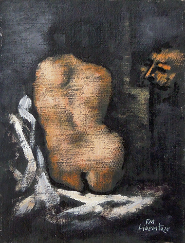 Art work by Fausto Maria Liberatore Nudo di spalle - oil canvas cardboard