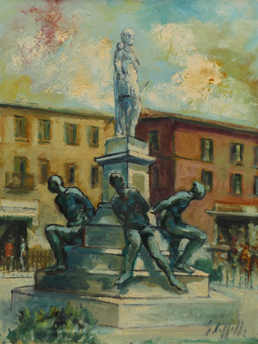 Art work by Emanuele Cappello Monumento dei Quattro Mori a Livorno - oil canvas