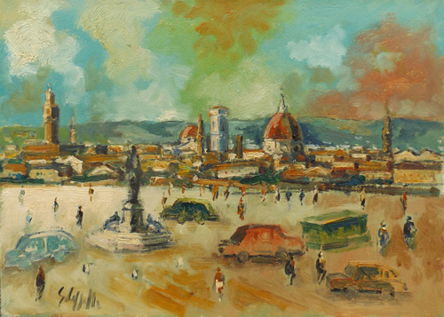 Art work by Emanuele Cappello Firenze dal Piazzale Michelangiolo - oil canvas