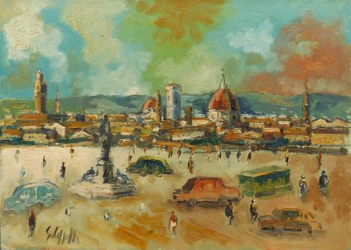 Quadro di Emanuele Cappello Firenze dal Piazzale Michelangiolo - olio tela