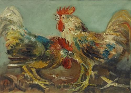 Quadro di Emanuele Cappello Battaglia di galli, olio su tela 50 x 70 | FirenzeArt Galleria d'arte