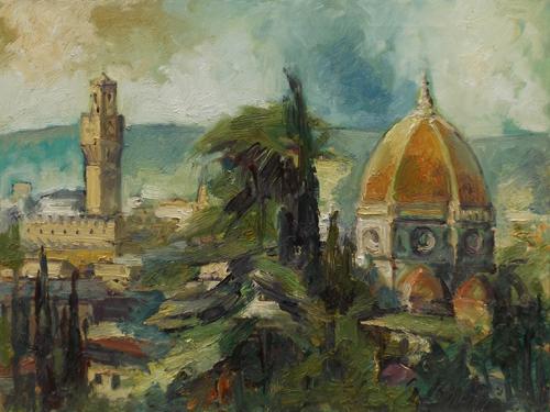 Quadro di Emanuele Cappello Cupola del Duomo e Palazzo Vecchio - olio tela