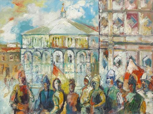 Quadro di Emanuele Cappello Corteo del Calcio Storico fiorentino - olio tela