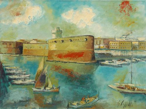 Quadro di Emanuele Cappello Fortezza Vecchia a Livorno - olio tela