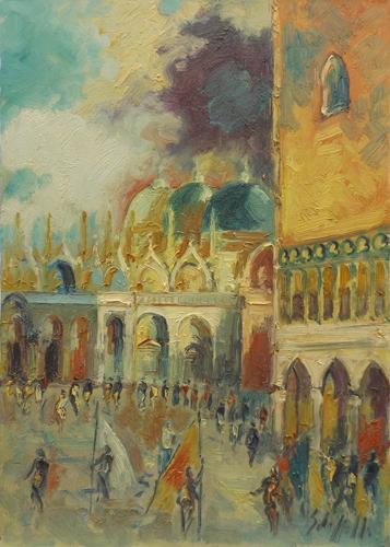 Quadro di Emanuele Cappello Piazza San Marco a Venezia - olio tela
