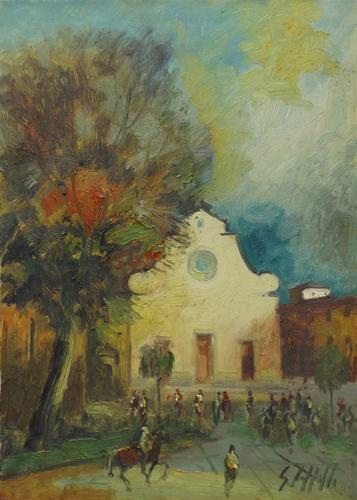 Quadro di Emanuele Cappello Santo Spirito a Firenze - olio tela