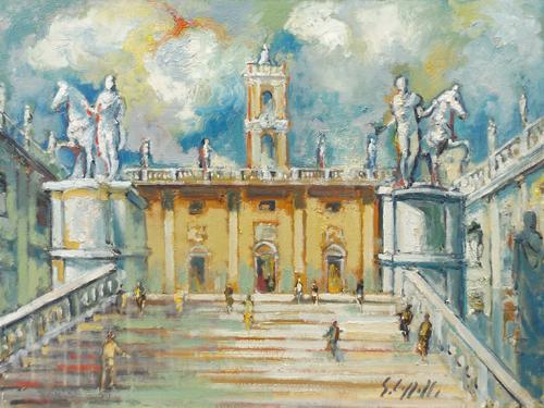 Quadro di Emanuele Cappello Campidoglio a Roma - olio tela