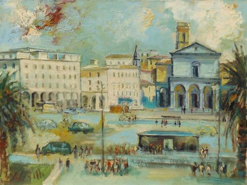 Quadro di Emanuele Cappello Duomo di Livorno - olio tela