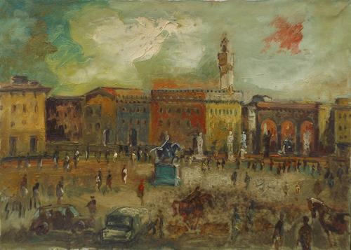 Art work by Emanuele Cappello Piazza Signoria a Firenze - oil canvas