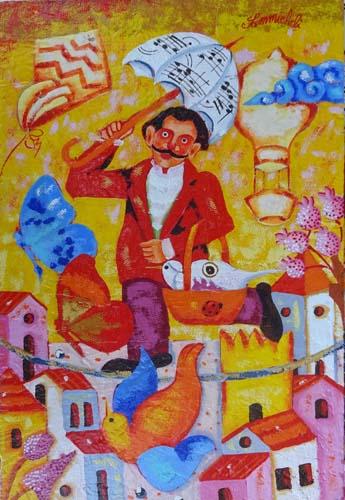 Quadro di Francesco Sammicheli Il funambolo - olio tavola