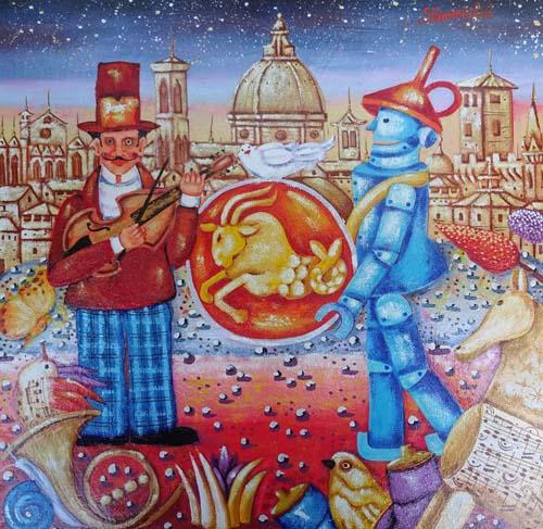 Quadro di Francesco Sammicheli Capricorno - olio tavola