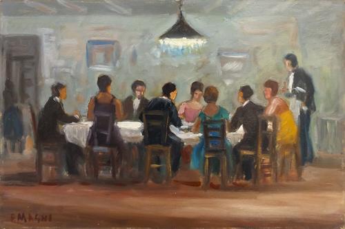 Quadro di Fausto Magni Cena al ristorante - olio tavola