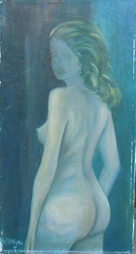 Art work by T. Germana Nudo di spalle - oil canvas