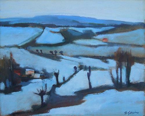 Quadro di G. Gogino Paesaggio - olio faesite